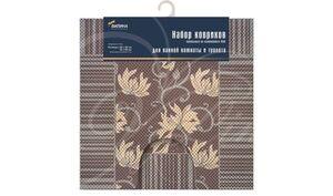 Набор ковриков, 2шт, для ванной и туалета из вспен-го ПВХ, 50х52см, 50х85см коричневый1/20