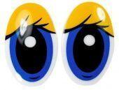 """Глазки винтовые """"овал с ресницами"""" 26 х 39 мм (желтый/синий)"""