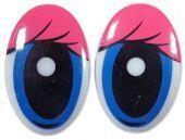 """Глазки винтовые """"овал с ресницами"""" 26 х 39 мм (розовый/синий)"""