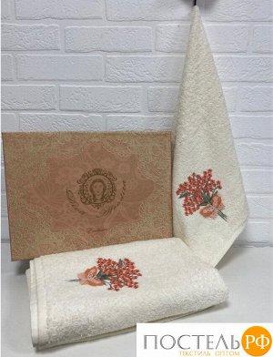 Набор полотенец Exclusive - Homa (50x90+70x140) хлопок 100% в подарочной коробке крем