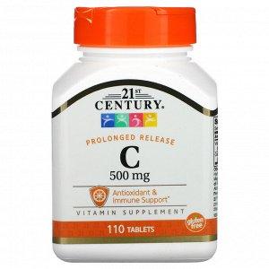 Витамин C 21st Century, Витамин C, пролонгированное высвобождение, 500 мг, 110 таблеток. Поддержка иммунной системы Витамин С является важным антиоксидантом, который поддерживает иммунную систему. Вит
