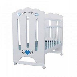 Кровать детская Little Heart колесо-качалка (белый) 1200x600
