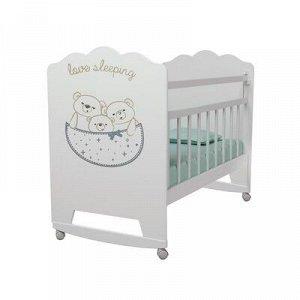 Кровать детская Love Sleeping колесо-качалка (белый) (1200x600)