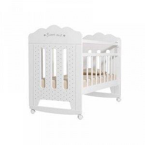 Кровать детская BONNE колесо-качалка (белый) (1200x600)