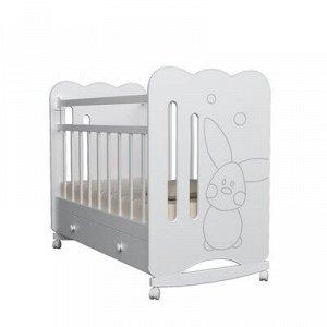 Кровать детская Sweet Rabbit колесо-качалка с ящиком, цвет белый