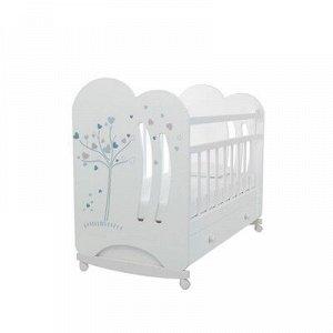 Кровать детская WIND TREE колесо-качалка с ящиком (белый) (1200x600)