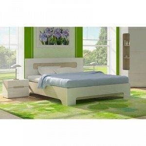 Кровать Палермо с основанием, с/м 1600х2000, дуб сонома/белый глянец МДФ