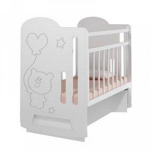 Кровать детская Sweet Bear колесо-качалка с маятником (белый) ( 1200x600)