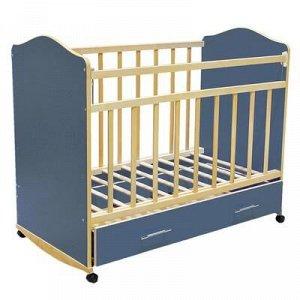 Детская кроватка «Морозко» на колёсаx или качалке, с ящиком, цвет синий