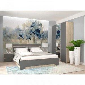 Кровать и 2 тумбы Анталия, 1674x900x2058, Графит/Дуб сонома