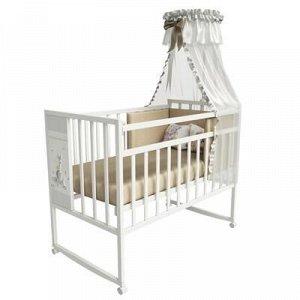 Кровать детская Mini Loft 3D - My friends колесо-качалка (молочный) 1200x600