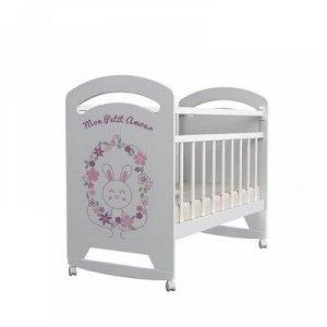 Кровать детская Mon Amur колесо-качалка (белый) (1200x600
