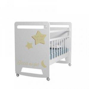 Кровать детская Good Night Star колесо-качалка (белый) (1200x600 )