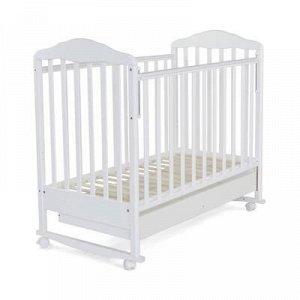 Кровать детская Березка с ящиком (автостенка, колеса,качалка, накладка ПВx, белый)