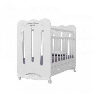 Кровать детская Desire колесо-качалка с ящиком (белый) (1200x600)