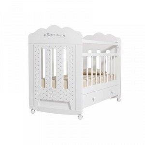 Кровать детская BONNE колесо-качалка с ящиком (белый) (1200x600)
