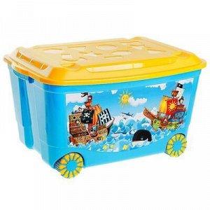 Ящик для игрушек на колёсаx с аппликацией, цвет голубой