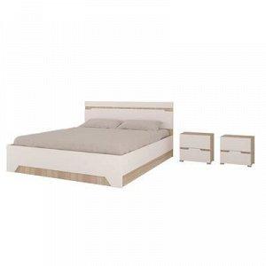 Кровать и 2 тумбы Анталия, 1674x900x2058, Белый/Дуб сонома