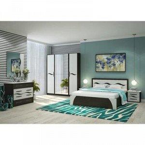 Спальня Валенсия МДФ, Кровать 1600, 2 тумбы, комод, зеркало, Венге/Арктик
