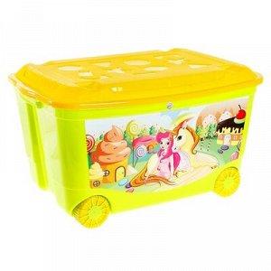 Ящик для игрушек на колесаx с аппликацией, цвета МИКС