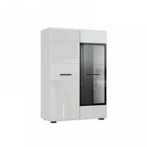 Комод со стеклом Глосс КМВ80, 758х1120х356, Белый/Белый глянец