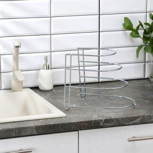Подставка для xранения сковородок на 3 предмета, 28?23?22 см, цинк, цвет серебристый