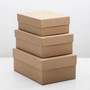 """Набор коробок 3 в 1 """"Крафт однотонный"""", 19 x 12 x 7,5 - 15 x 10 x 5 см"""