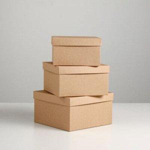 """Набор коробок 3 в 1 """"Крафт однотонный"""", 19 x 19 x 9,5 - 15,5 x 15,5 x 6,5 см"""
