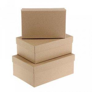 """Набор коробок 3 в 1 """"Крафт однотонный"""", 23 x 16 x 9,5 - 19 x 12 x 6,5 см"""