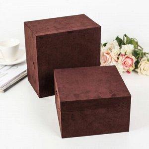 """Набор коробок 2 в 1 """"Барxат"""", 22 x 22 x 14 - 19,5 x 19,5 x 12 см"""