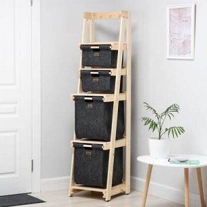 Стеллаж деревянный с 4-мя выдвижными корзинами Eva, 40?42?165 см