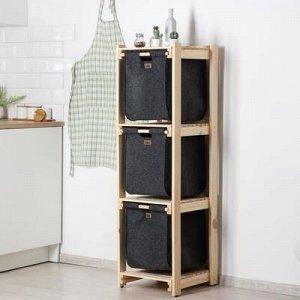 Стеллаж деревянный с 3-мя выдвижными корзинами Eva, 40?42?135 см