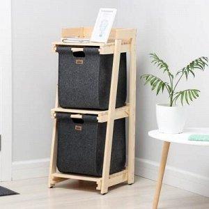 Стеллаж деревянный с 2-мя выдвижными корзинами Eva, 40?42?100 см