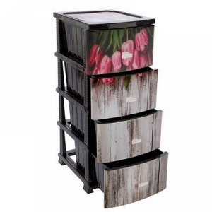 Комод 4-x секционный «Декор. Тюльпаны», рисунок МИКС