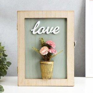 """Ключница дерево """"Цветы в горшке - Love"""" голубая 26x19,5x5,5 см"""