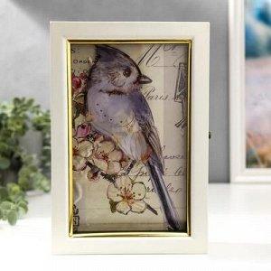 """Ключница дерево 6 крючков """"Птица на ветке с цветами 3D"""" белая с золотой полосой 25х17х6,5см"""