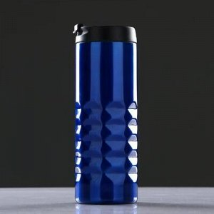 Термокружка 500 мл, прямая, без ручки, ромбы внизу, внутри пластик, микс, 7x20 см