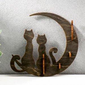 """Ключница открытая """"Коты и луна"""" 17?16?3 см"""