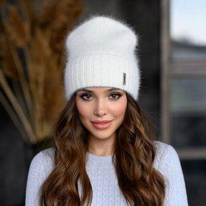 """Вязанная шапка """"Шакира"""" цвет белый"""