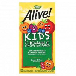 Nature's Way, Alive! жевательный комплекс мультивитаминов для детей, со вкусом апельсина и ягод, 120 жевательных таблеток