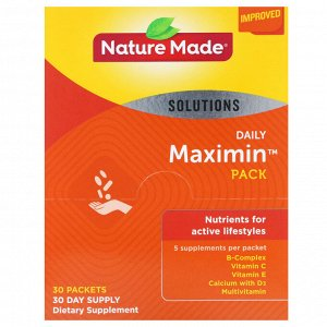 Nature Made, Daily Maximin Pack, мультивитамины и минералы, 6 добавок в пакете, 30 пакетов