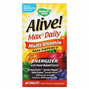 Nature's Way, Alive! Max3 Daily, мультивитамины, 60 таблеток