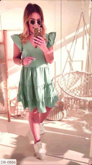 Платье Материал: софт , цвет светлый зеленый. Замеры изделия : ОГ 116, длина 101