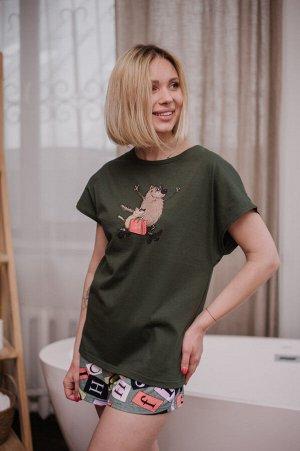 Женская пижама ЖП 022 (хаки+принт буквы)