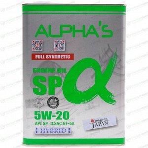 Масло моторное ALPHA'S 5w20 синтетическое, API SN PLUS/SP, ILSAC GF-5/GF-6A, для бензинового двигателя, 4л, арт. 809344