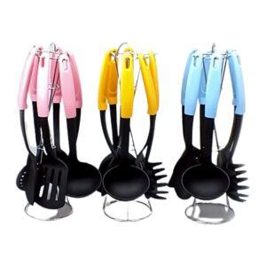 Набор кухонных принадлежностей 6шт, на метал. подставке , термопластик, пластик  ручка, 3 цвета 1/24