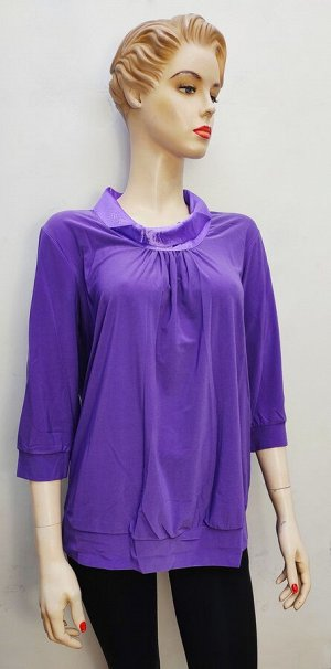 Блуза Стильная блуза для дам, свободного кроя, круглый ворот в складочку, 3/4 рукавчик. Состав: вискоза-95%, эластан-5%