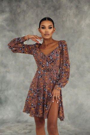 Платье из креп-шифона с разрезами и цветочным принтом