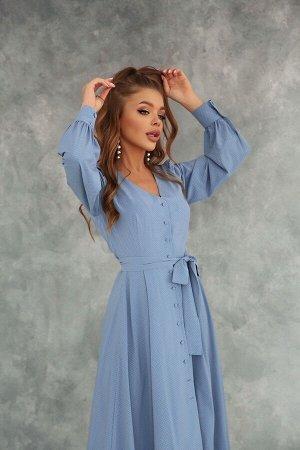 Расклешённое платье-миди в горошек на пуговицах