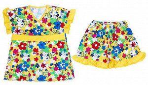 Пижама на девочку желтого цвета (супрем набивной)